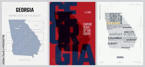 Fotografia 4 of 50 sets, US State Posters with name and Information in 3 Design Styles, Det