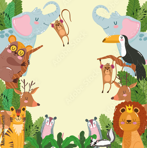 Fototapeta premium Cute Animals Jungle