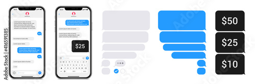 Obraz Smartphone chatting sms app template bubbles. SMS chat composer. Place your own text to the message. Editable phone chat mockup bubble. Vector illustration. - fototapety do salonu