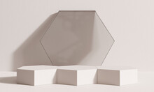 Product Display Podium With Brown Abstract Background. 3D Render