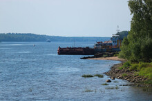 Passenger And Car Ferry Across The Volga River In Myskin, Russia