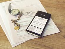 "Czech Republic, Prague, 25 February 2021: Tax Form, Czech Declaration Of Corporation Taxes. Focus On Word ""priznani"" Translation: ""Tax Form, Smart Phone, Mobile,electronic Tax Filing, App,Watch"