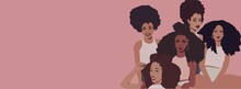 Group Of African Afro Women Friends Laughing. Black Business Woman With Afro Hair. Black Lives Matter.