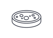 Chemistry Icon Of A Petri Dish With Culture Medium For Growing Bacteria And Fungi In A Laboratory, Line Drawn Vector Illustration Isolated On White Background
