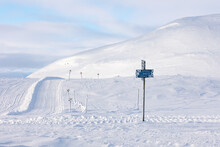 Snow Mobile Trails In The Swedish Mountains.