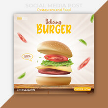 Editable Social Media Post Template. Burger Or Fast Food Banner Ads. Illustration Vector With Realistic Burger