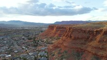 Aerial View Of Flat-top Mountains In St. George, Utah, Wide Spinning Shot