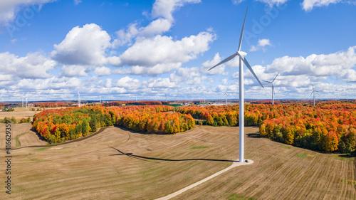 Fototapeta Autumn sunny day with wind turbines in central Michigan farmland near Cadillac Michigan obraz