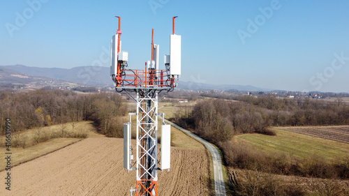Canvas Print Aerial drone view of GSM and radio telecommunication tower