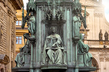 Bronze Monument Of King Charles IV, Made In 1848, Close-up On A Sitting Figure Symbolizing Justice