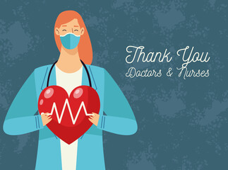 thank you doctors and nurses lettering with doctor female lifting heart cardio