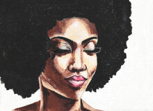 Hand Drawn Beautiful African Woman. African Woman With Closed Eyes On White Background. Black Lives Matter