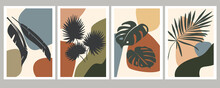 Abstract Art Of Tropical Leaves On A Background Of Various Simple Shapes. Botanical Natural Compositions For Posters, Postcards, Banners, Paintings On The Wall. Vector Graphics