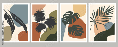 Fotografia Abstract art of tropical leaves on a background of various simple shapes
