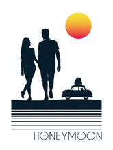 Lovers Walk On Beach. Couple And Car Silhouette. Family Road Trip