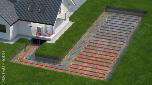 Heat Pump, ground source, 3d illustration © Studio Harmony