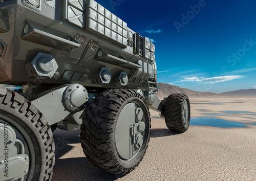 Fotografija commander transport is passing by on desert after rain