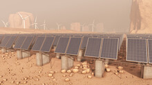 Front Row Of A Solar Panel Farm In A Desert Area 3D Rendering