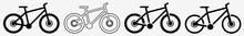 Mountain Bike Icon | Downhill Mountain Bike Set | Mountain Bikes Icon Bicycle Vector Illustration Logo | Mountain Bike Sign | Black Mountain Bike Icon Isolated Cycle Collection