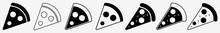 Pizza Slice Icon Italian Pizza Slice Set | Pizzas Slices Icon Delivery Vector Illustration Logo | Pepperoni Pizza Icon Isolated Pizzeria Pizza Slice Collection