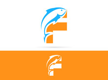 Letter F Fish Logo Design. Vector Combination Of Animals And Letter