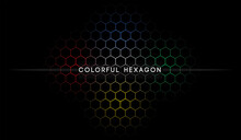 Abstract Wallpaper With Dark Background Colorful Hexagon Pattern