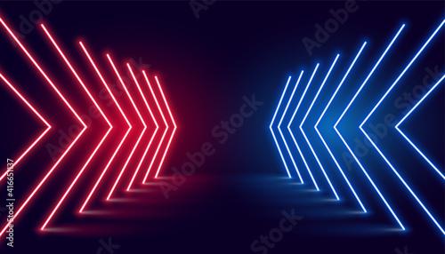 Fotografie, Tablou neon light arrow direction in perspective