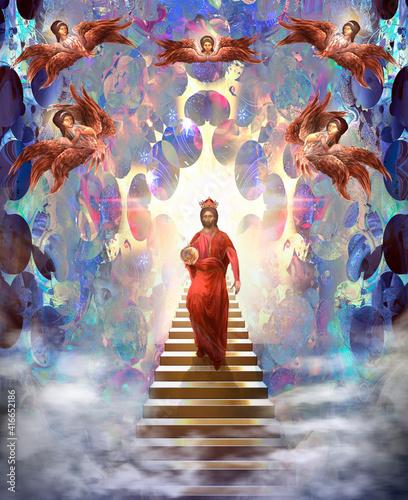Billede på lærred Jesus Christ descending from Heaven