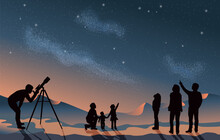 Star Scene Night Sky With Silhouette People Telescope Looking At Space