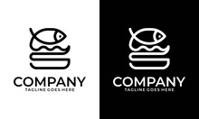 Fish Burger Logo Linear Type. Fast Food Illustration And Hand Draw Lettering In Vector. Black And Flat Picture Of Burger Concept With Fish Taste.