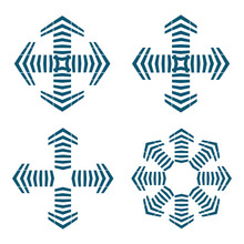 Set Blue Wind Arrow Logo Symbols. Four Cardinal Directions