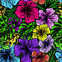 Vector Colorful Flower Jungle Seamless Repeat All Over Textile Pattern