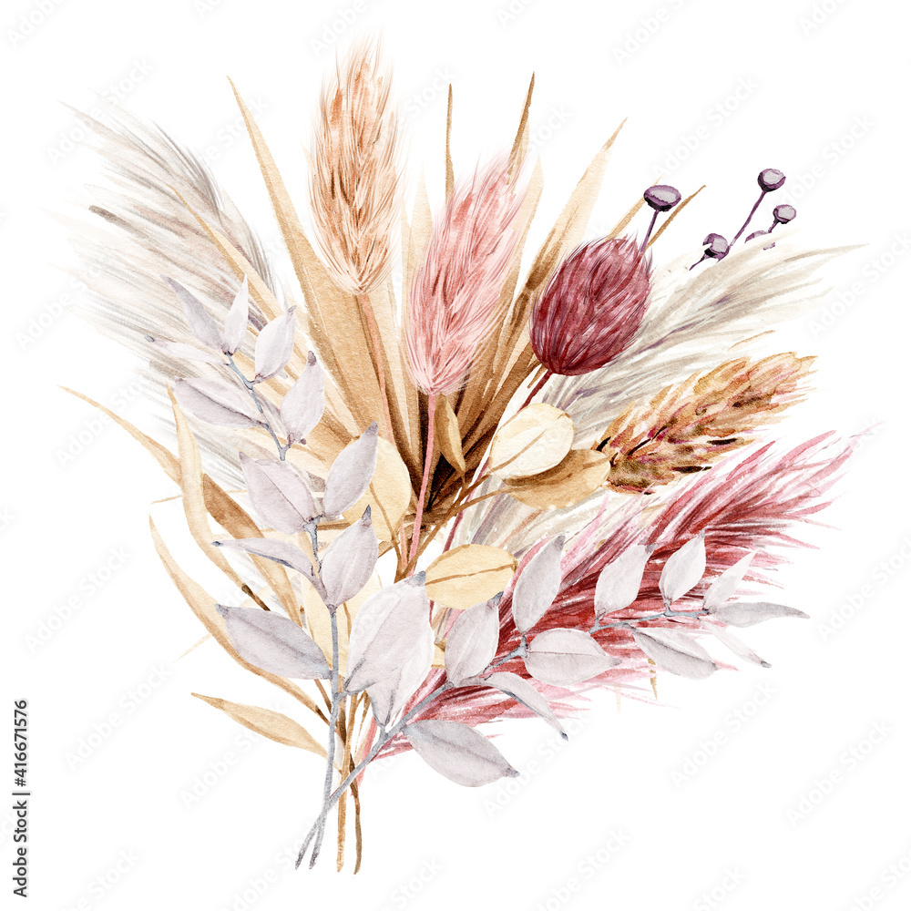 Fototapeta Dried flowers watercolor drawing. Pampas grass, tropical palm leaves, wildflowers.