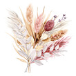 Leinwandbild Motiv Dried flowers watercolor drawing. Pampas grass, tropical palm leaves, wildflowers.