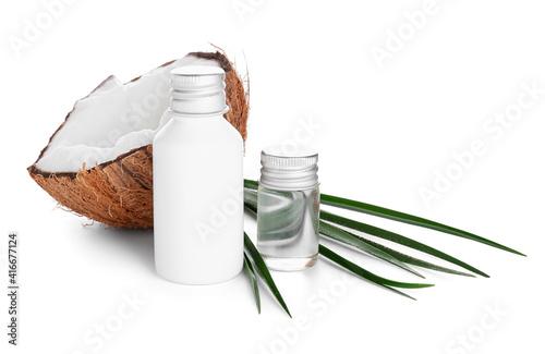 Fototapeta Bottles of coconut oil on white background obraz