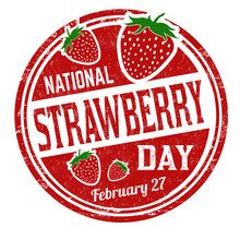 National Strawberry Day Grunge Rubber Stamp
