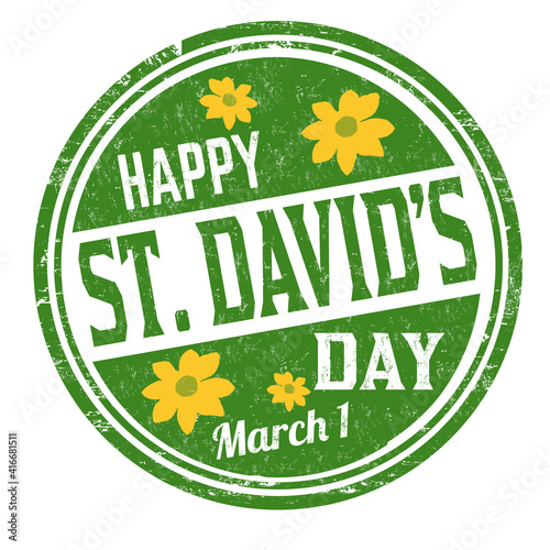Happy St. David's day grunge rubber stamp