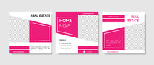 Square Web Banner For Social Media Post. Instagram Template With Contrast Magenta Color And Brish Elements. Business Layout For E-shop Or Seller, Real Estate.