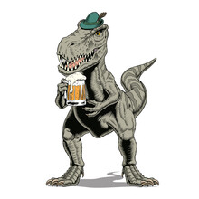 Tyrannosaurus Rex Dinosaur Or T Rex Wearing Bavarian Or Tyrolean Hat, With Beer Mug, Isolated On White. Comic Style Vector Illustration.