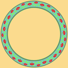Vintage Round Frame With Red Tulips. Art Nouveau Style. Vector.