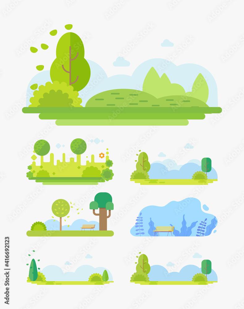 Fototapeta City Park landscape flat vector cartoon illustration set