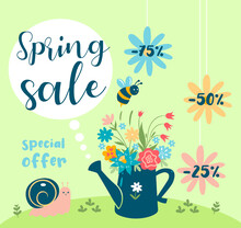 Cute Spring Sale Banner With Flowers. Vector Graphics.
