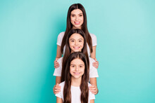 Photo Portrait Of Three Sisters Different Generations Smiling Happy In White T-shirts Isolated On Vivid Blue Color Background