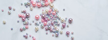 Pearls Background. Pearls On Marble Background. Fashion And Luxury Jewelry Concept