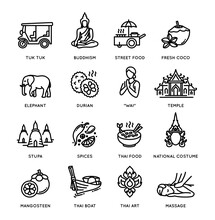 Thailand Icon Set - Collection Of Vector Thin Line Style Icons, Thai National Symbols