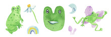 Watercolor Aesthetic Set Of Green Frogs With Violet.Сottagecore Collection Of Cute Animals With Daisy,rainbow,grebes,moon Hand Painted On White Isolated Background.Design For Stickers And Cards.