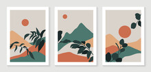 Mountain And Botanical Wall Art Vector Set. Earth Tones Landscapes Wallpaper. Oasis Tropical Backgrounds Collection With Mountain, Sand, Palm,Twigs Leaf, Moon Or Sun. Vector Illustration.