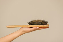 Hair Loss Problem Close Up Woman Hand Holding Comb Brush With Lost Hair Side View