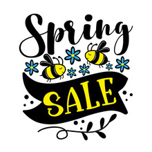 Spring Sale - Bee And Daisy Flowers. Vector Illustration Template,banners, Flyers, Invitation, Posters, Brochure, Voucher Discount.