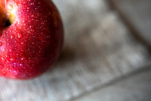 Photograph Of Two Red Apples On Wooden Table. Still Life Of Food. 16: 9 Photography. Freshness Concept. Space For Text.